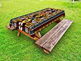 Ambesonne Kente Pattern Outdoor Tablecloth, Vertical Borders Inspired by Primitive African Cultures Geometrical Design, Decorative Washable Picnic Table Cloth, 58 X 120 Inches, Multicolor