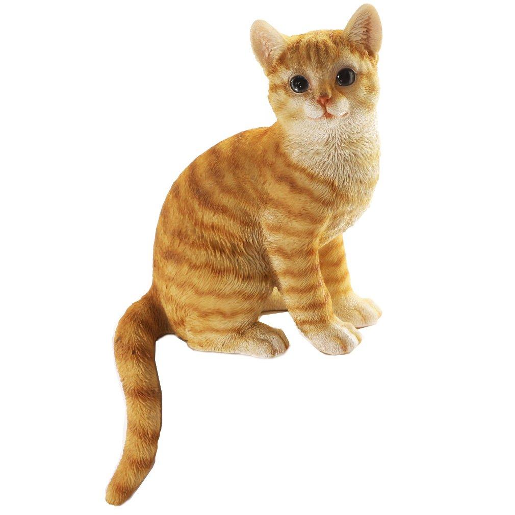 [ファンシー] ネコ 茶トラ 猫 置物 インテリア ガーデニング ガーデンオーナメント 猫 好き な 人 へ の プレゼント 誕生日プレゼント 女性 人気 彼女 母の日 結婚記念日 転居 最適なプレゼント ca06 B07DQDJSFH