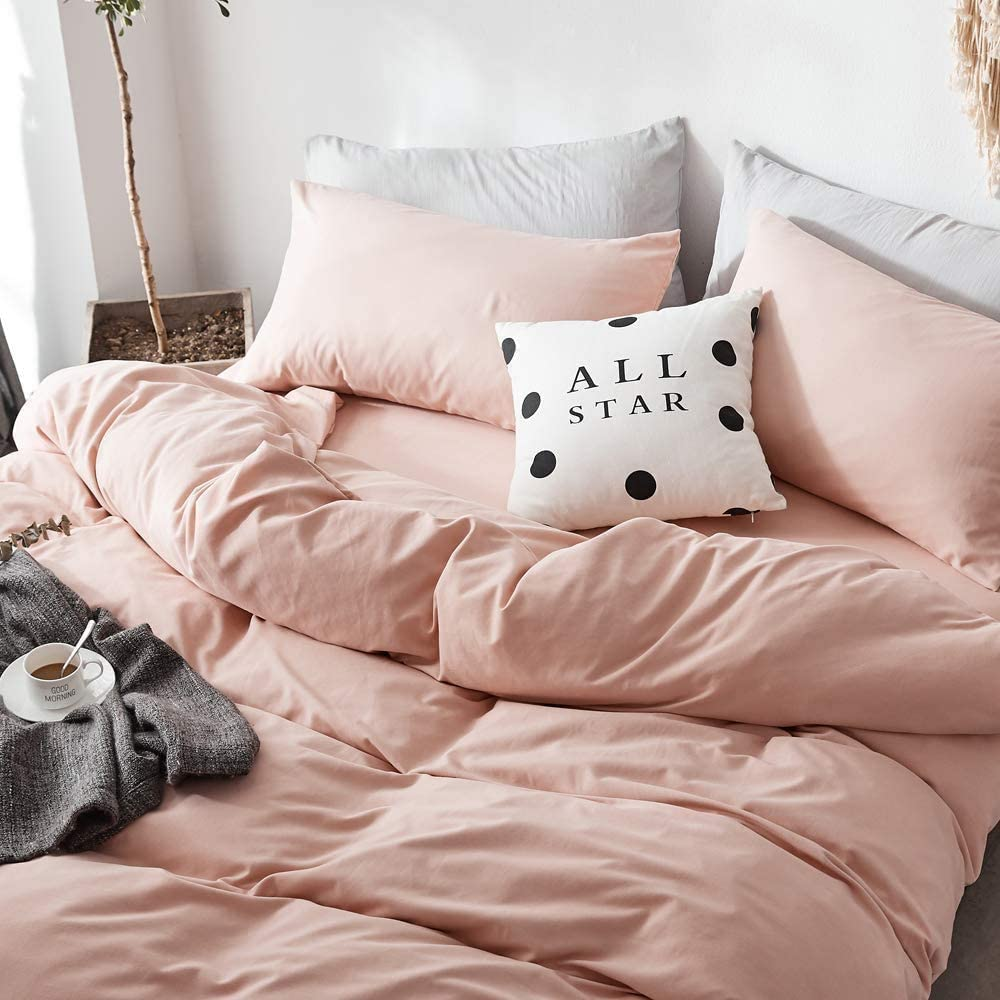VCLIFE Pink Duvet Cover Queen Full Microfiber Blush Bedding Sets Girls Woman Down Quilt Cover Sets with Zipper Closure, Soft Shabby Chic Bedding Duvet Cover Sets for All Seasons, Easy Care, Breathable