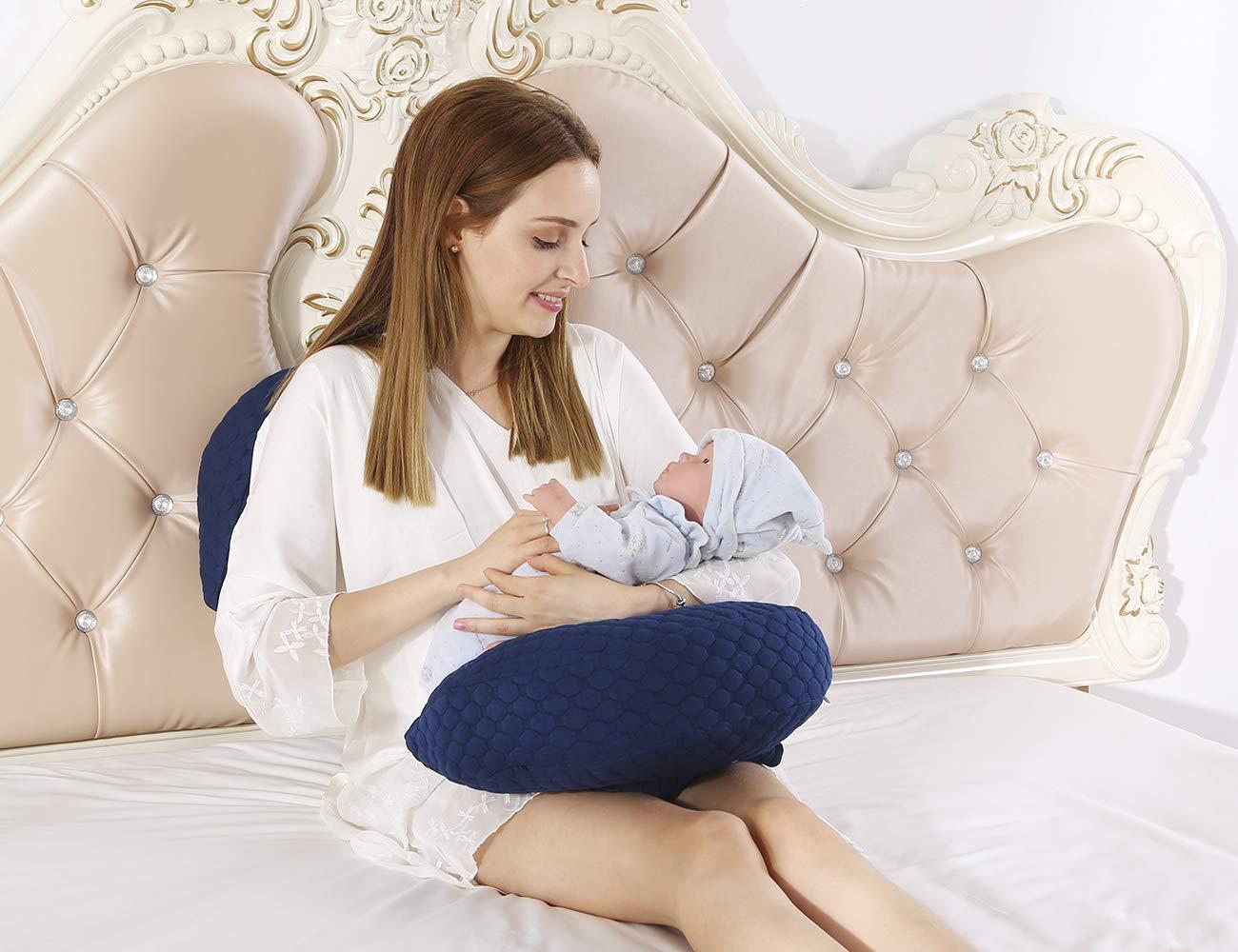SALAD HOUSE Lendenkissen Schwangere Frauen Kissen Taille Seite Schlafkissen Baumwolle Navy Blue, 40 x 70 cm