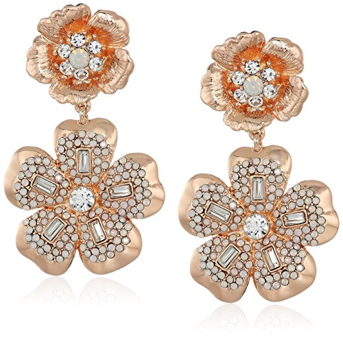 Badgley Mischka Womens Double Flower Crystal Pave Drop Earrings, Rose Gold Tone, One Size