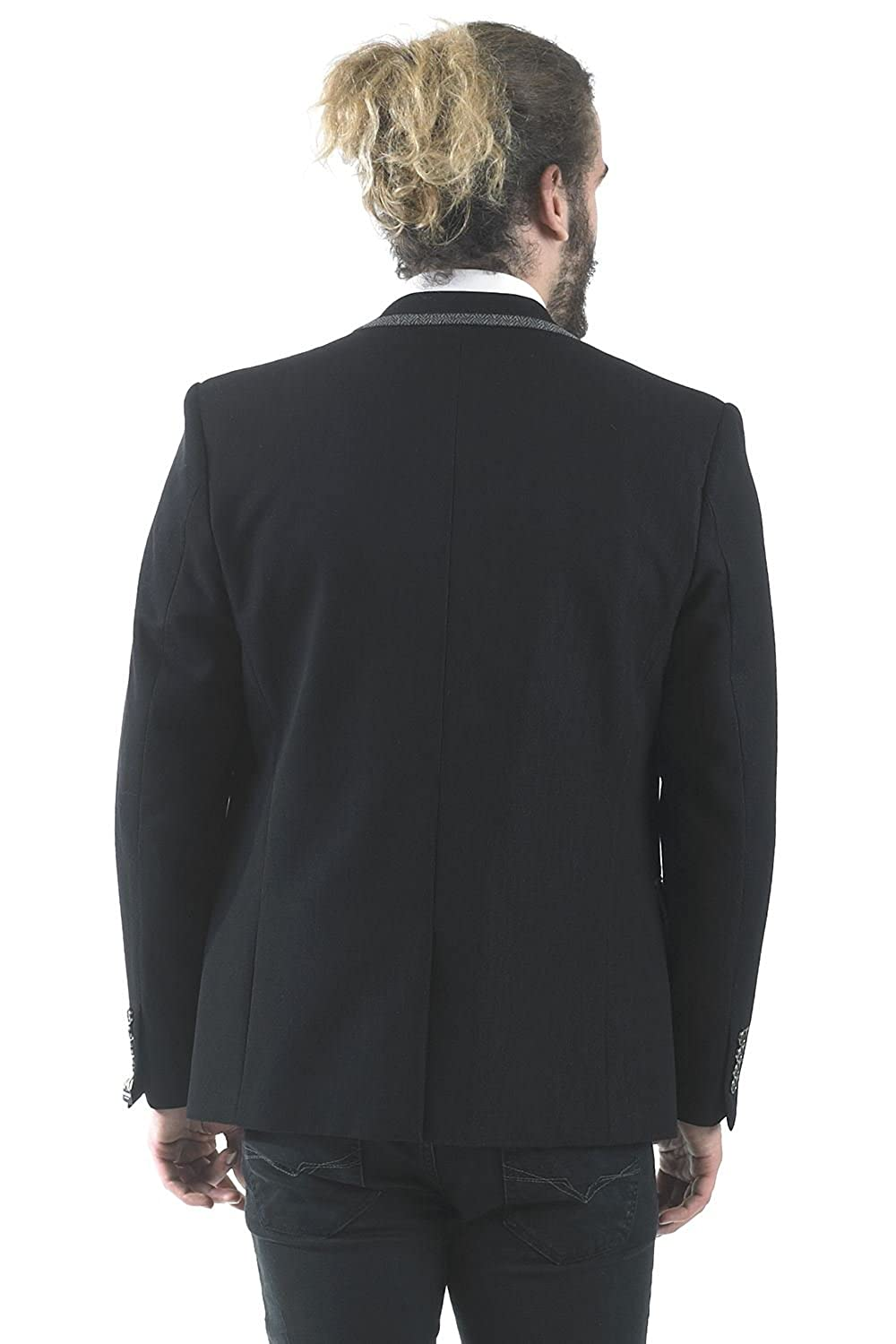 Marc Darcy Mens Designer Casual Two Button Single Breasted Black Denim Look Blazer Business Jacket Chest Sizes 34-52