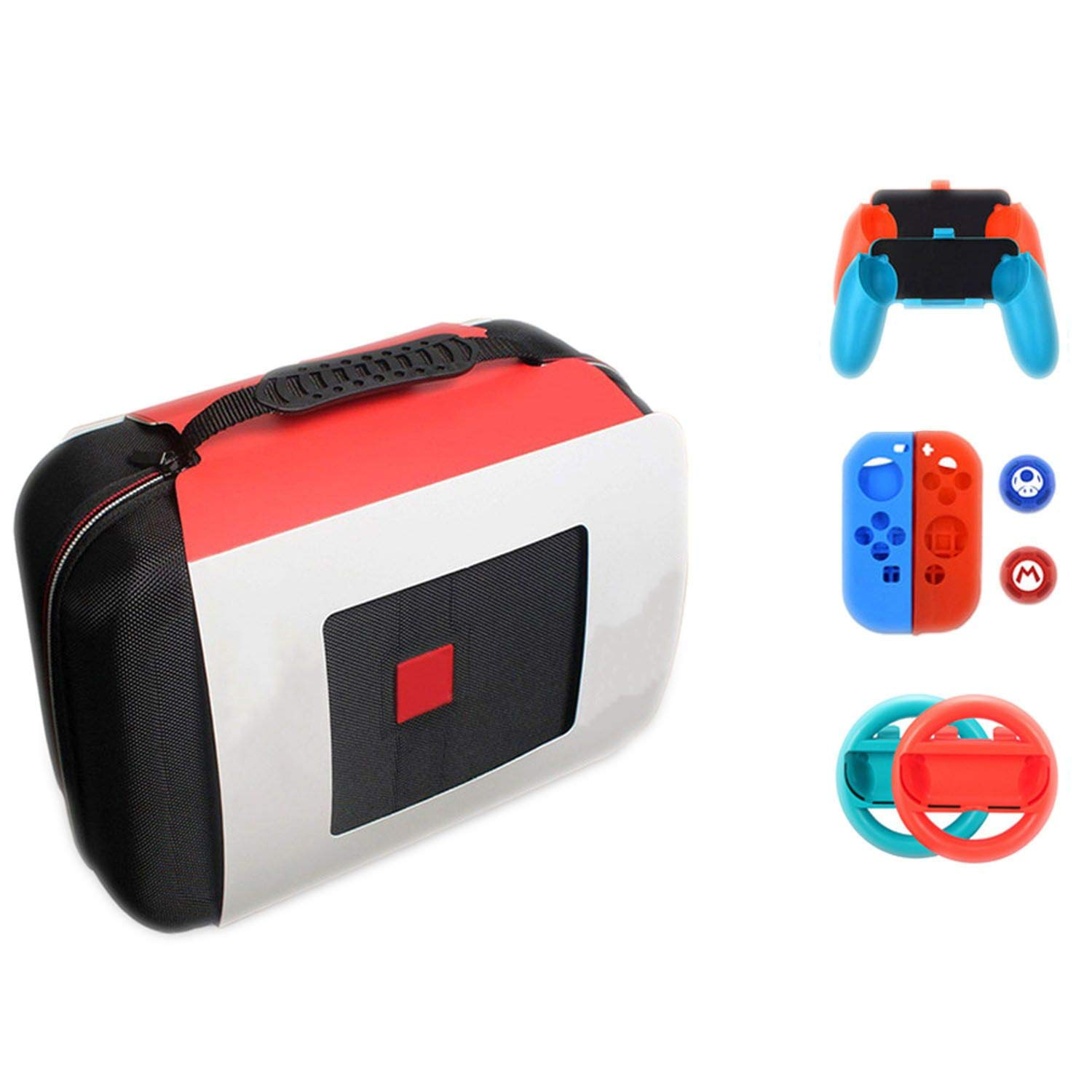 Nintendo Switch NS Accessories Console Carrying Storage Bag Hard Case Joystick Handle Grips and Silicone Case for Nintendo Switch,P-2