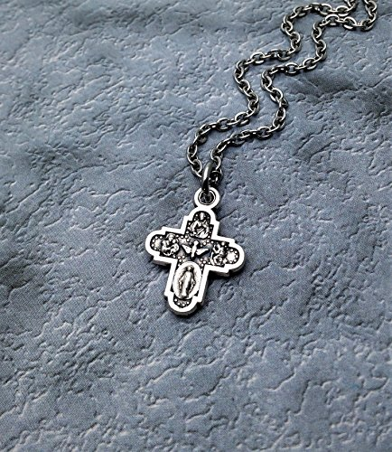 Tiny Five Way Cross Necklace. Baby Baptism Gift. Baby Shower Gift. Catholic Jewelry for Children (Diecast Gift)