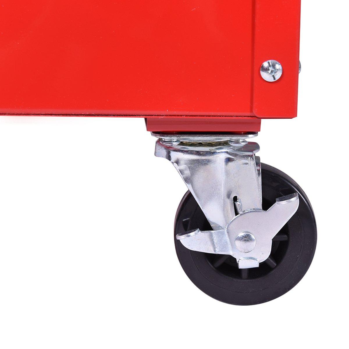 Goplus Tool Cart Rolling 36-Inch Steel Tool Chest Box Wheels Trays w/ Locking Drawer, Red by Goplus (Image #7)