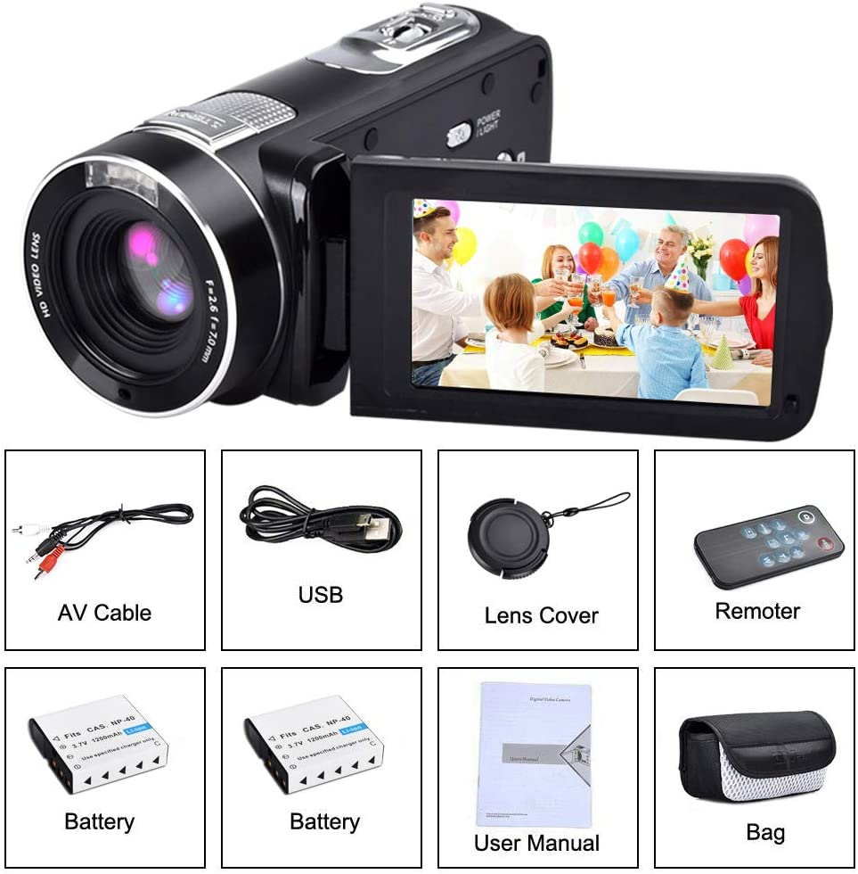 Dos bater/ías Incluidas C/ámara de v/ídeo Digital con visi/ón Nocturna IR 18X Zoom Digital 24.0Mega Pixels 1080p Full HD Weton