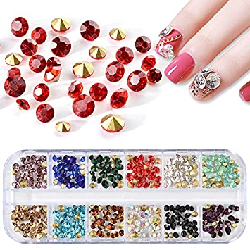 Amazon 12 Gridsset Mixed Size Nail Art Rhinestones 3d Sharp