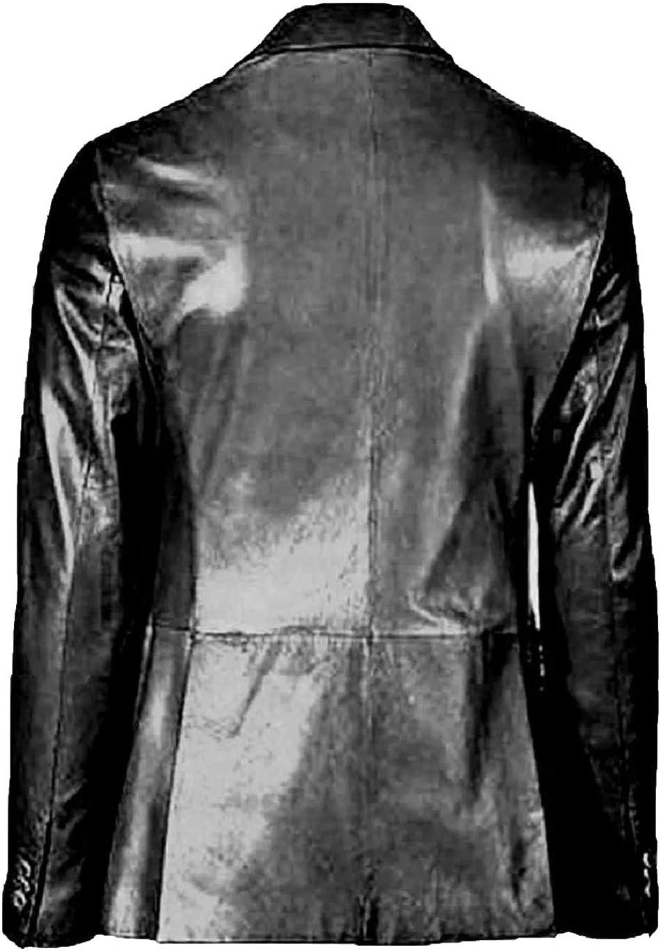 Men/'s Plain Stylish Slim fit Waxed Black Fashion Real Leather Blazer Coat