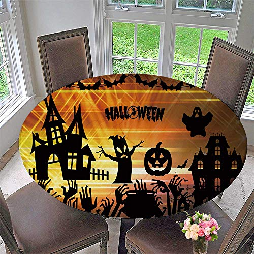 PINAFORE HOME Round Tablecloths Ultra high Definition Halloween or Everyday Dinner, Parties 47.5