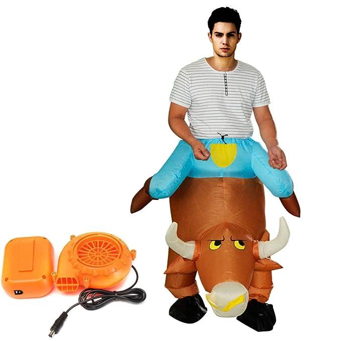 Amazon.com: Autek - Disfraz hinchable de vacuno con caballo ...