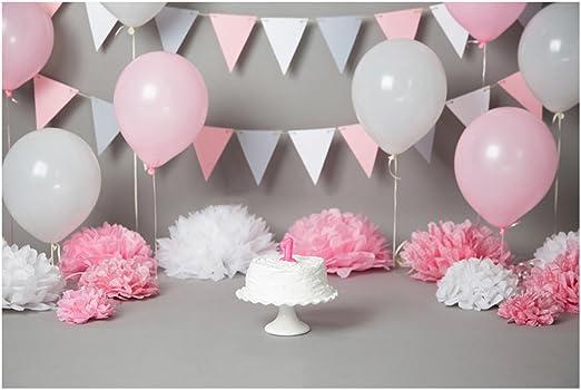 Luoem Fotografie Hintergrund Baby 1 Geburtstag 3d Cartoon Ballons Wimpel Torten Wand Foto Studio Requisiten Für Mädechen Kindergeburtstag Pink Spielzeug