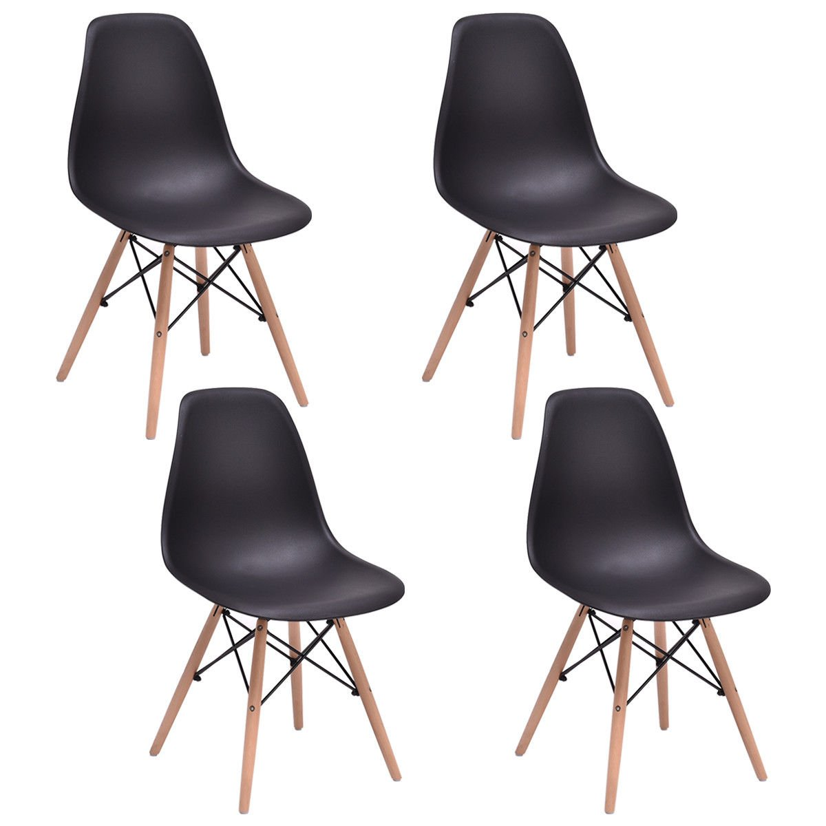 Giantex Set of 4 Mid Century Modern Style DSW Dining Chair Side Wood Leg (Black)