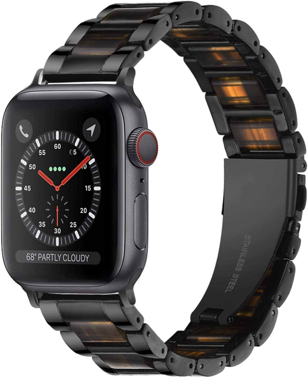 Light Apple Watch Band - Resin with Stainless Steel Luxury iWatch Band Bracelet Compatible with Comfortable Stainless steel buckle for Apple Watch Series SE 6 5 4 3 2 1 (Black-Deep Beeswax, 38mm/40mm)