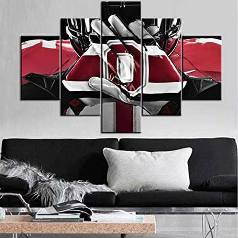 Amazon Com Tumovo Black And White Wall Art Native American Decor Paintings Ncaa Pictures 5 Pcs Multi Panel Canvas Artwork Home Decor Framed Ready To Hang Posters And Prints 60 Wx40 H Posters Prints