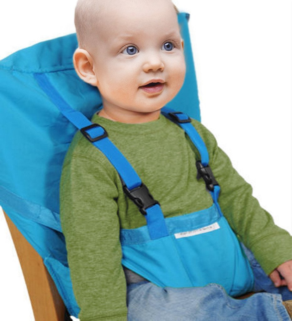 Orange Baby Portable High Chair Seats Cover Safety Harness Toddler Foldable Safety Sack Belt