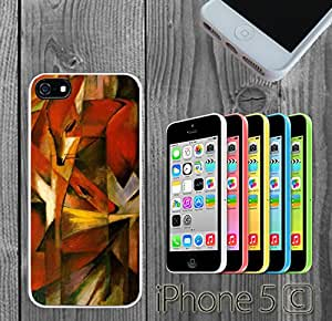 Foxes Painted Art Custom made Case/Cover/Skin FOR iPhone 5C Color -White- Rubber Case