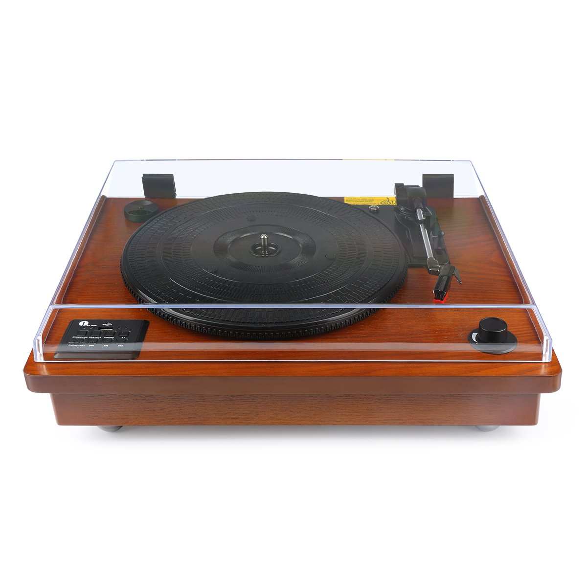 1byone belt driven bluetooth turntable with built in stereo speaker vintage style record player. Black Bedroom Furniture Sets. Home Design Ideas