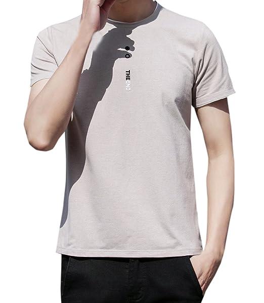 Verano Hombres Camisetas Casual Cuello Redondo Manga Corta tee Blusa Moda Slim Tops T-Shirt