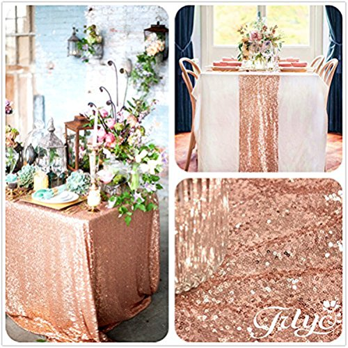 60' Square (60''x120'' Sparkly Royal Rose Gold Square Sequins Wedding Tablecloth, Sparkly 6FT-8FT Overlays Table cloth for Wedding, Event)