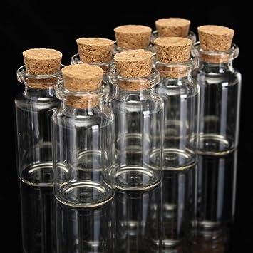 Heylookhere Creativo Práctico Único 12 ML Botellas de Vidrio de Corcho Decoradas Que Deseen Botellas Paquete de 12 Piezas: Amazon.es: Hogar