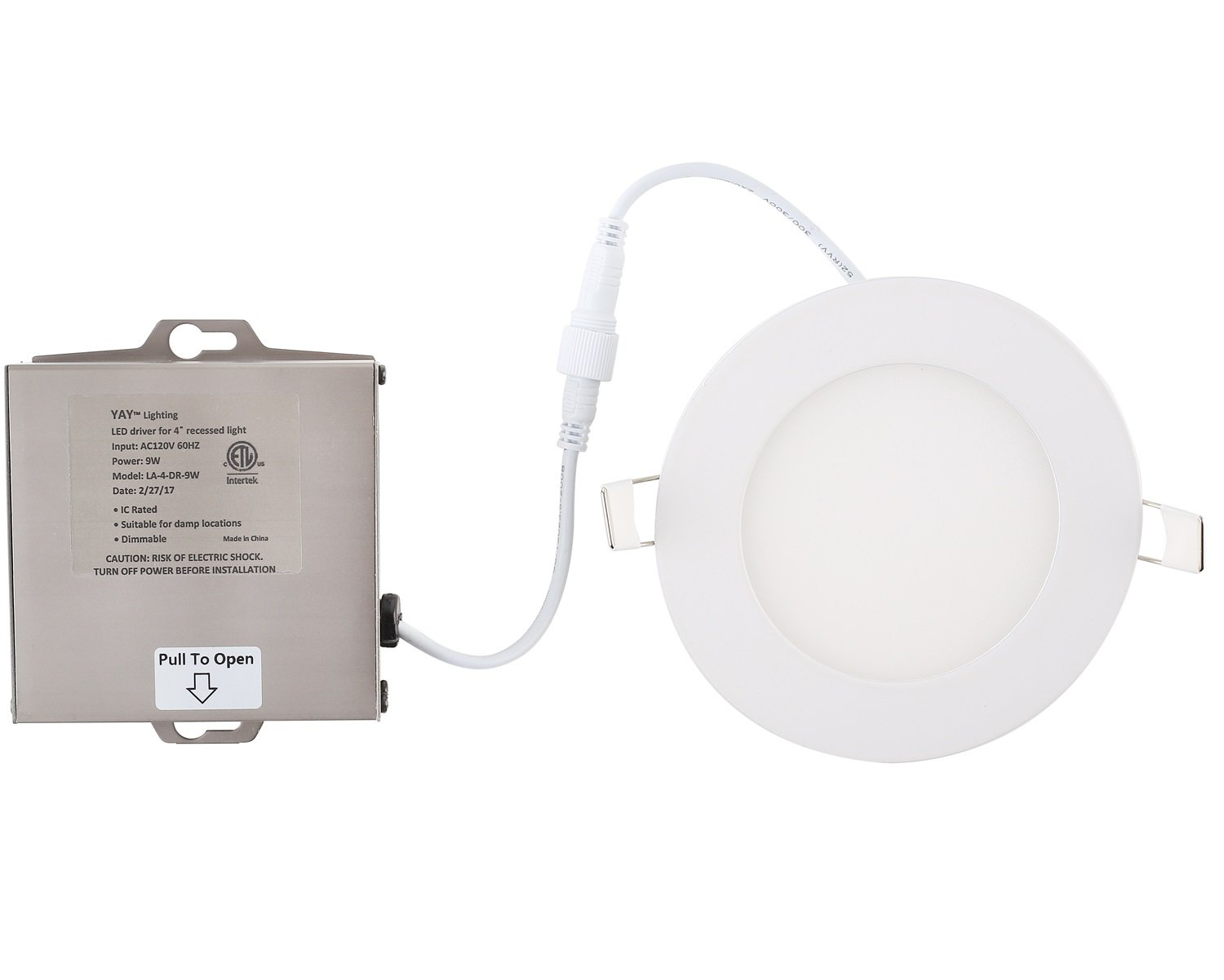 4 Pack LED Recessed Ceiling Light Disk – 4'' Ultra Thin Round Spotlight – Dimmable - ETL List - IC-Rated - 810 - Lumens - with Remote Driver Box - 3000K (Warm White, 4 inch) by YAY (Image #3)