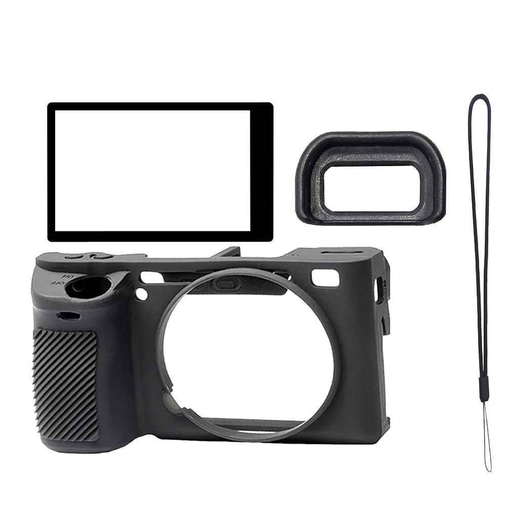PCTC Accessories for A6500 Camera Silicone Protective Housing Frame Shell Case + Screen Protector + Viewfinder Eyepiece + Wrist Strap (4 Sets)