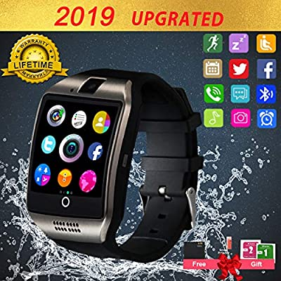 Smart Watch for Android Phones, Bluetooth Smartwatch Touchscreen with Camera, Smart Watches Waterproof Smart Wrist Watch Phone Compatible Android Samsung iOS (Gold) (Black)