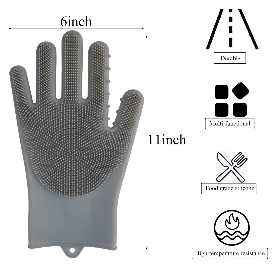 Poualss Dishwashing Gloves,2 Pair Magic Silicone Dishwashing Gloves with Brush Scrubber Gloves for Kitchen Bathroom Cleaning, Pet Hair Care, Car Washing