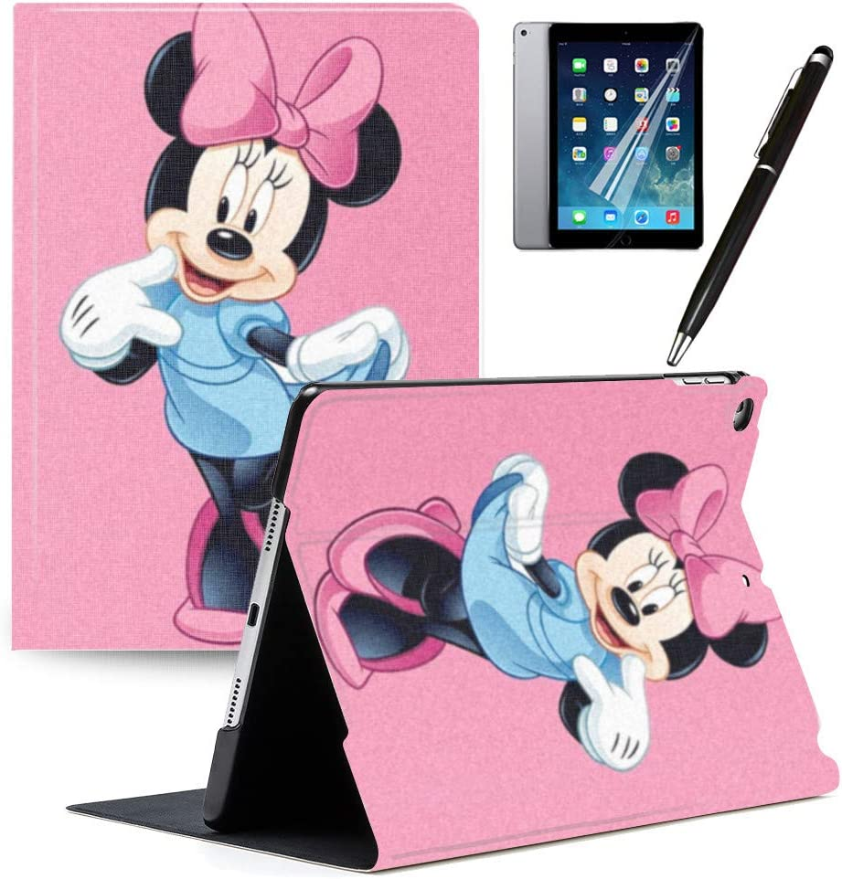 """LJX iPad 7th Generation 10.2"""" 2019 Case Mickey Minnie Mouse Cute Cartoon Cover PU Leather Stand Protection Smart Auto Sleep/Wake Shell Compatible for Apple iPad 10.2 inch 2019#G"""