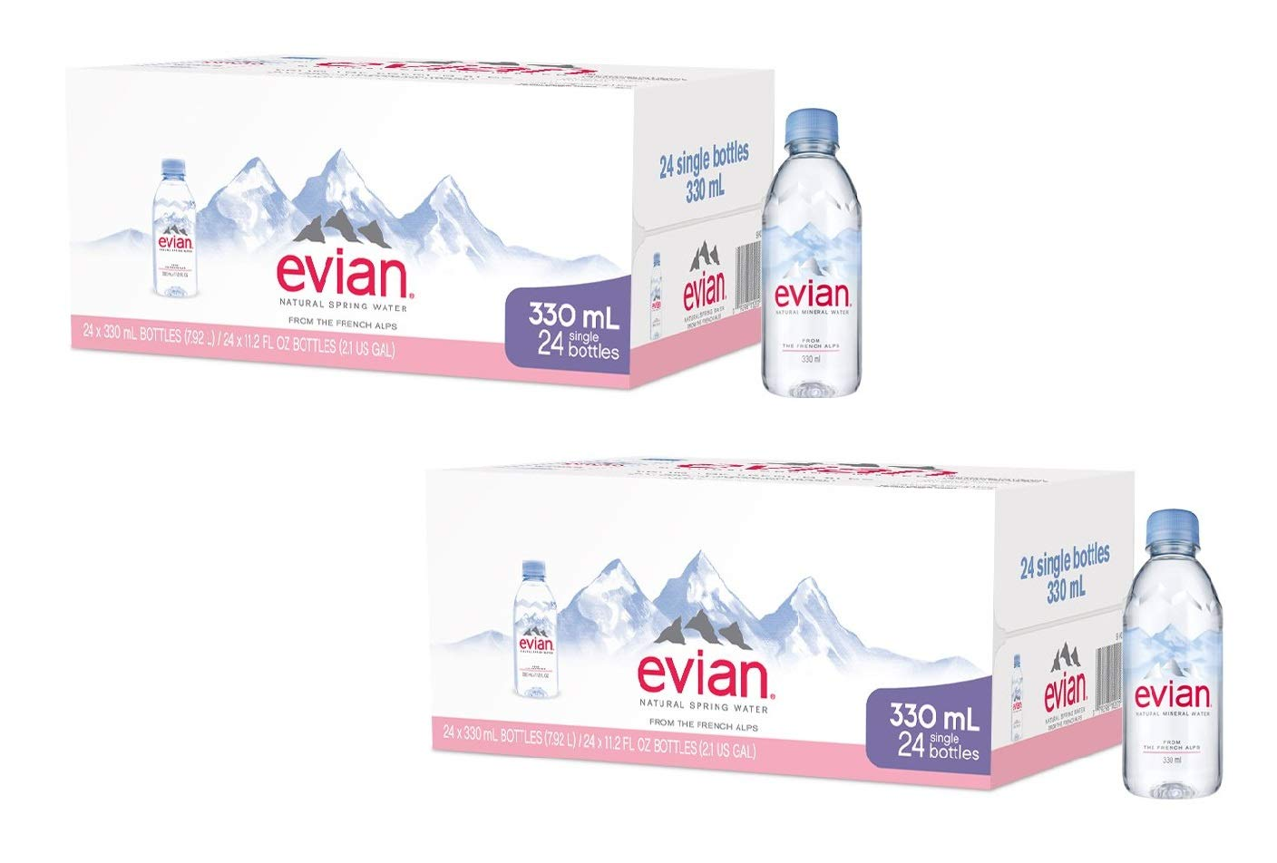 evian Natural Spring Water One Case of 24 Individual 330 ml (11.2 Fl. Oz.) Mini-Bottles, Naturally Filtered Spring Water Small Water Bottles (2 Pack) by evian (Image #1)