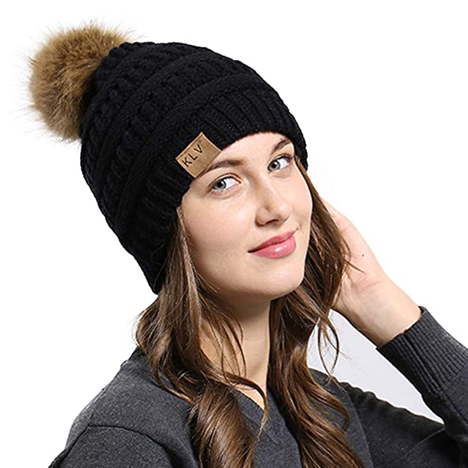 Muryobao Women s Warm Winter Beanie Hat Slouchy Skully Cable Knit Hats Soft  Stretch Ribbed Cap with 913c2ded9