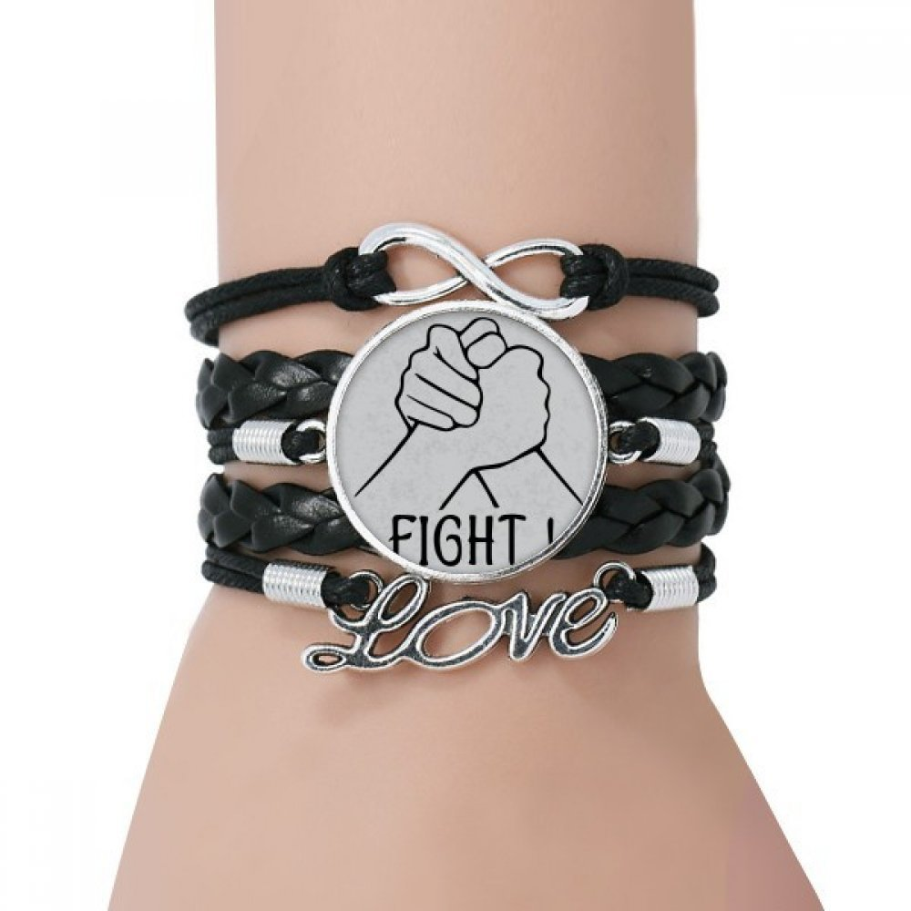 DIYthinker Wrist Wrestling Personalized Gesture Bracelet Love Black Twisted Leather Rope Wristband