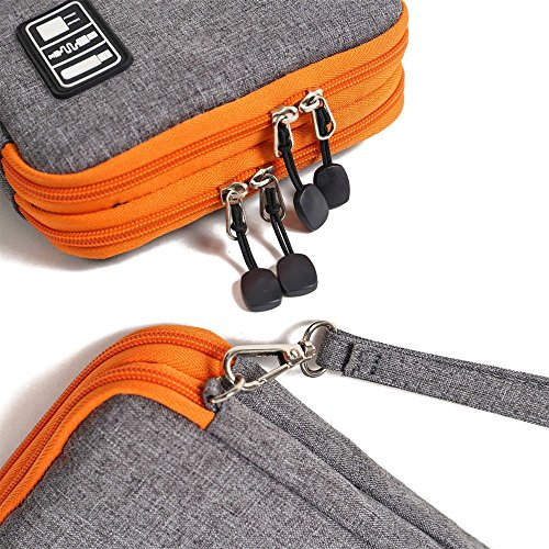 METORY Travel Accessories Electronics Organizer, Universal Cable Management Organizer Travel Bag For USB, Phone, iPad, Charger and Cable (Double Layer, Large, Grey and Orange) by METORY (Image #3)