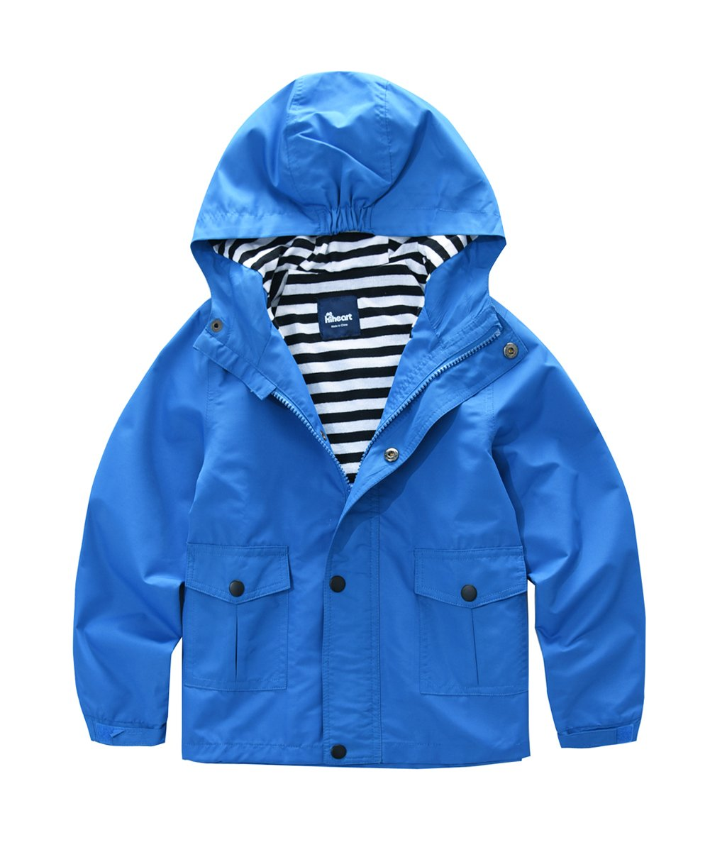 Hiheart Boys Hooded Jackets Lightweight Windbreaker Outwear Blue 6/7