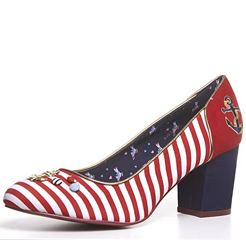 Cheap BABYCHAM Rochelle - Womens Red White Striped Nautical Round Toe Mid High Block Heel court shoe
