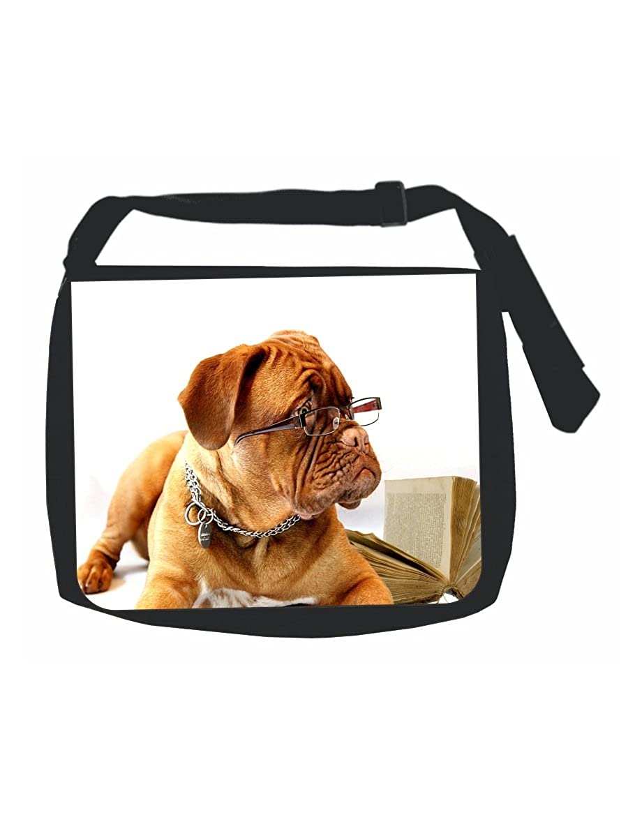 Black Laptop Shoulder Messenger Bag and Small Wire Accessories Case Set Girls Wise Learning Bulldog Multi-Purpose