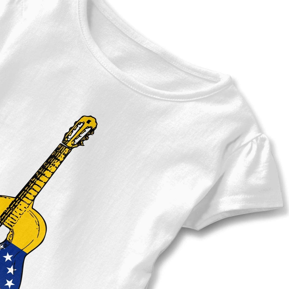 Toddler Baby Girl Venezuela Flag Guitar Art Funny Short Sleeve Cotton T Shirts Basic Tops Tee Clothes