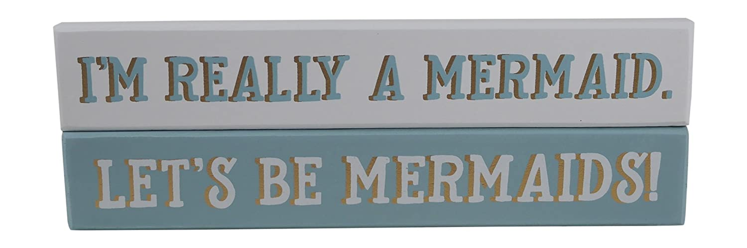 Collins Blue Gold Mermaid Theme Wood Decorative Box Sign Home Decor, 9 Inches (Both Mermaid Signs)