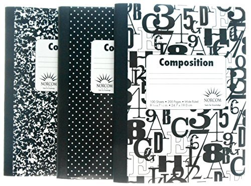 Wide Ruled Black and White Composition Notebooks