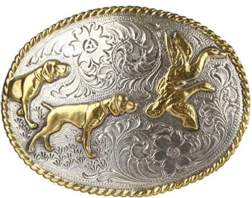 Outdoorsman Hunting Dogs & Birds Brass and Silver Western Belt Buckle H8158-ASAG