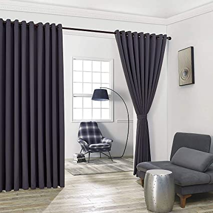 Warm Home Designs Extra Large 2 Charcoal Wall To Curtains 108 X 99 Each With Matching Tie Backs Total Width Is 216 Inches 18 Feet