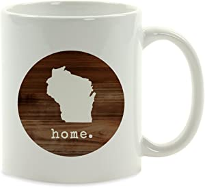 Andaz Press 11oz. US State Coffee Mug Gift, Rustic Wood Home, Wisconsin, 1-Pack,