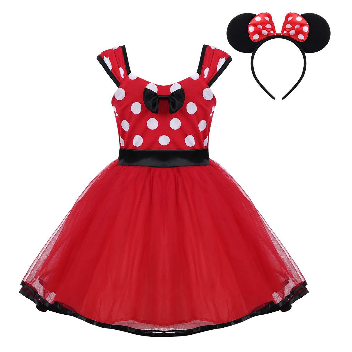TiaoBug 2Pcs Vestido Lunares Bebé Niñas Disfraz de Vestido para Fiesta Halloween Carnaval con Lunares con Diadema de Mickey Mouse