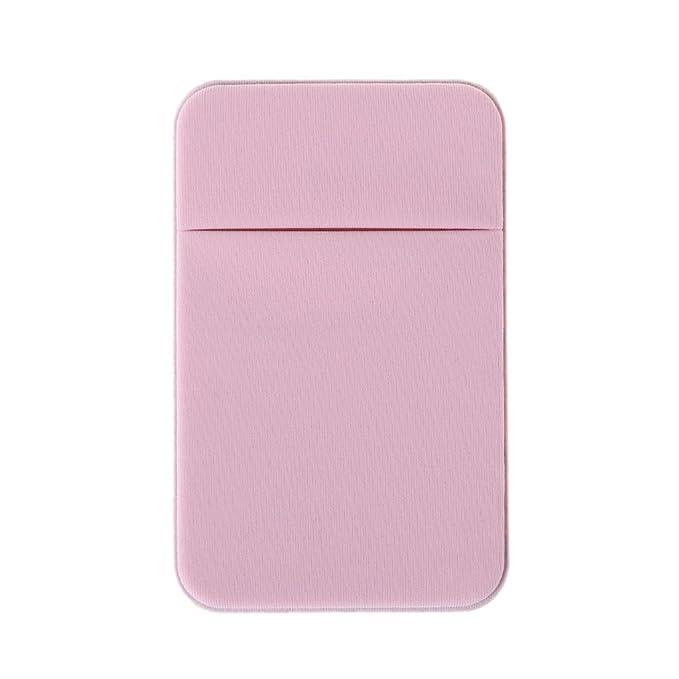 Cuigu Soporte de Tarjeta de Dos de teléfono móvil, Cartera Adhesiva de Vinilo para la Tarjeta de Identificación de crédito, Rosa Claro, 2.36