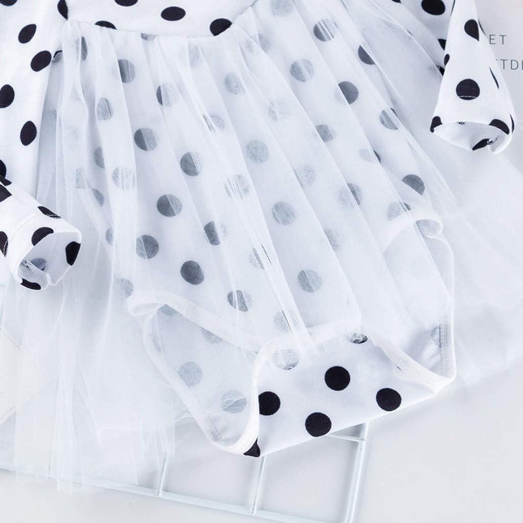 Haarband Outfits Set S/ü/ß Rundhals Bodysuit Jumpsuit mit Mesh Rock TWISFER Neugeborenes Babybody Kleinkind Baby M/ädchen Polka Dot Druck Strampler Rock