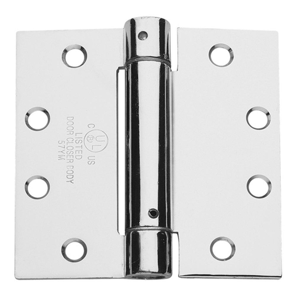 Global Door Controls 4.5 in Bright Chrome Steel Spring Hinge Set of 3 x 4.5 in
