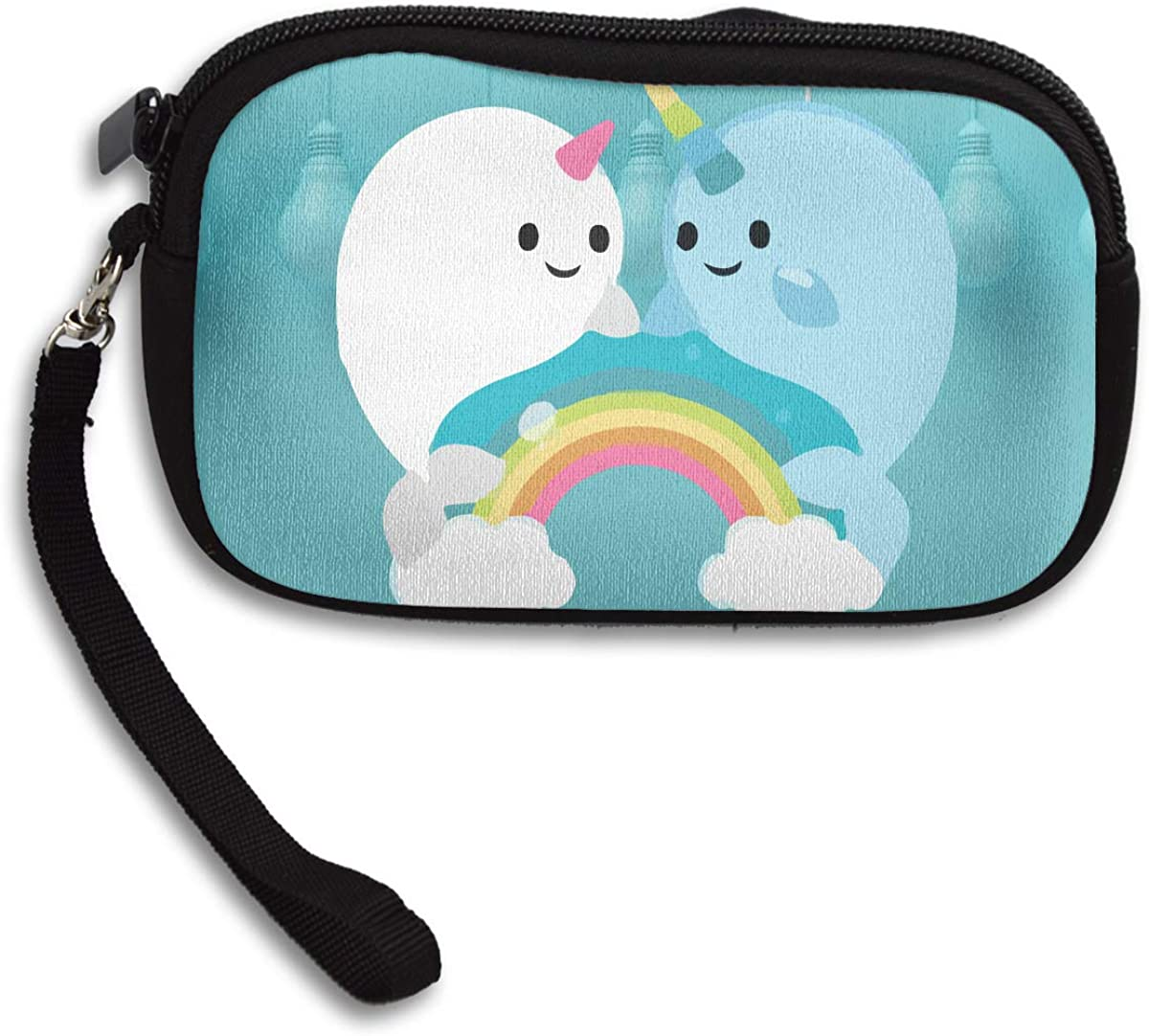 Narwhal Clipart Deluxe Printing Small Purse Portable Receiving Bag