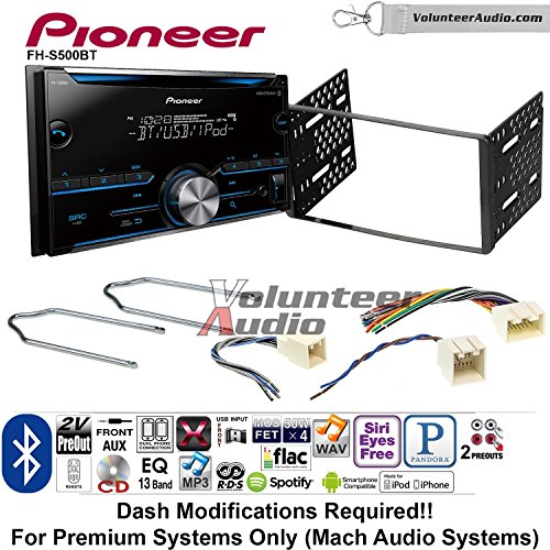 Volunteer Audio Pioneer FH-S500BT Double Din Radio Install Kit with CD Player Bluetooth Fits 2001-2004 Escape, 2000-2004 Excursion, 1999-2004 F-150, 2001-2003 Mustang (Mix 2 Player Dual Cd)