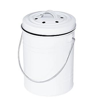 Komposteimer Küchen Kompostbehälter Bio Mülleimer weiß mit ...