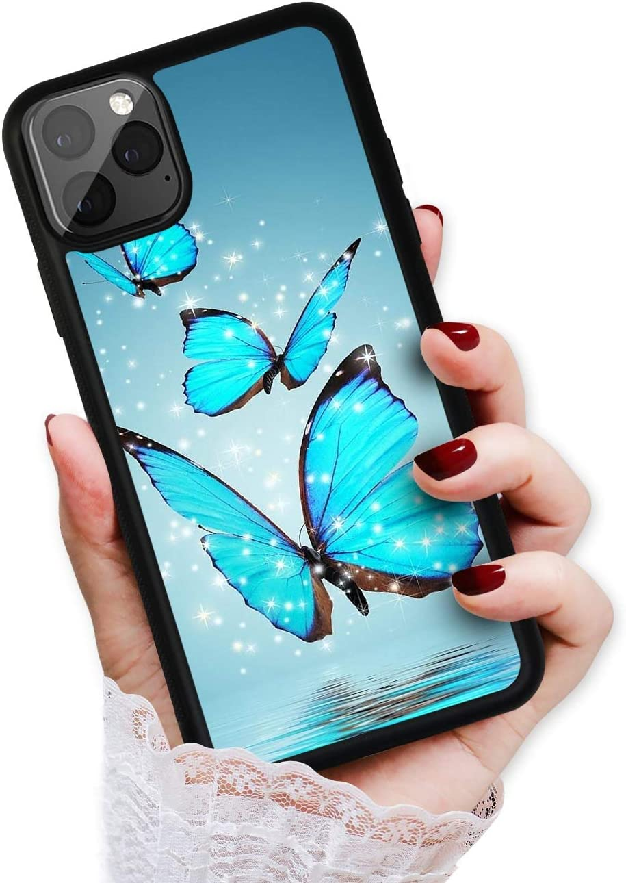 Amazon Com For Iphone 11 Pro Max Art Design Soft Back Case Phone Cover Hot12285 Blue Butterfly